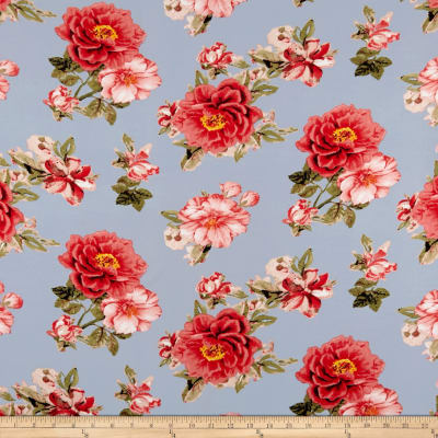 Double Brushed Poly Spandex Jersey Knit Floral Coral on Light Blue