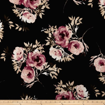 Double Brushed Poly Spandex Jersey Knit Roses Dark Mauve on Black