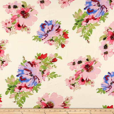 Double Brushed Poly Spandex Jersey Knit Floral Baby Pink on Cream
