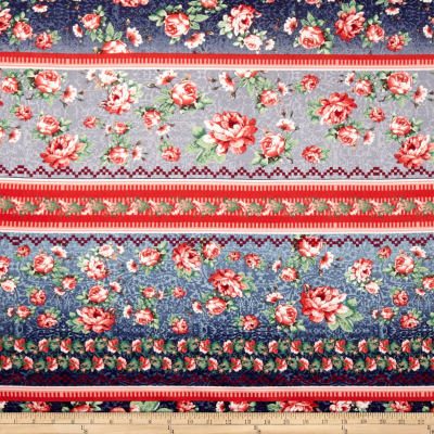 Double Brushed Poly Spandex Jersey Knit Bohemian Floral Red/Denim