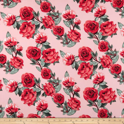 Double Brushed Poly Spandex Jersey Knit Roses Red on Dusty Peach