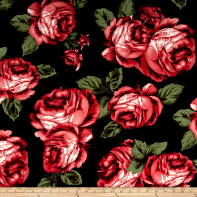Liverpool Double Knit Large Roses Black/Red