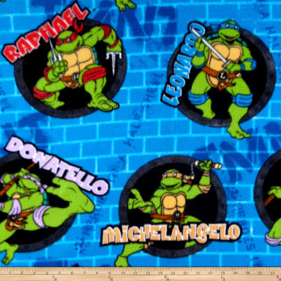 Nickelodeon TMNT Fleece Turtle Power Sewer Holes And Names Blue