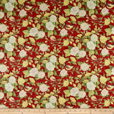 Springs Creative Meadow Meadow Floral Red