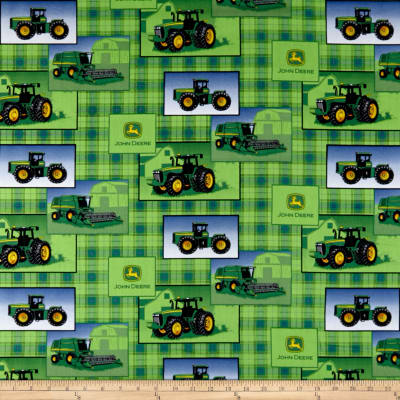 John Deere Everyday Cotton Plaid Patch Allover Green