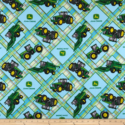 John Deere Everyday Cotton Plaid On Plaid Patch Light Blue