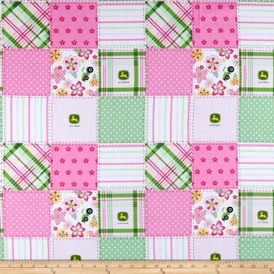 John Deere Everyday Cotton Floral Madras Patch Pink