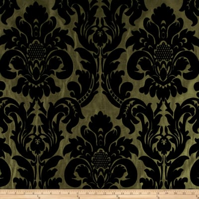 Flocked Velvet Dior Damask Olive