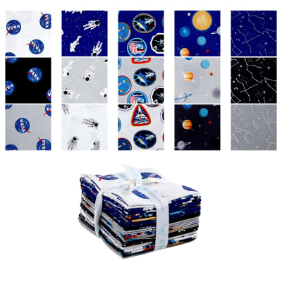 Riley Blake Lisc Collections Nasa Fat Quarter Bundle 15 Pcs Multi