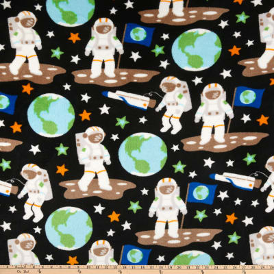 Plush Coral Fleece Outer Space Astronauts Multi
