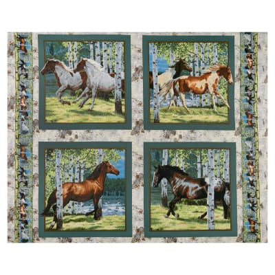 "Springs Creative Wild Wings Horses Running Free Pillow 36"" Panel Multi"