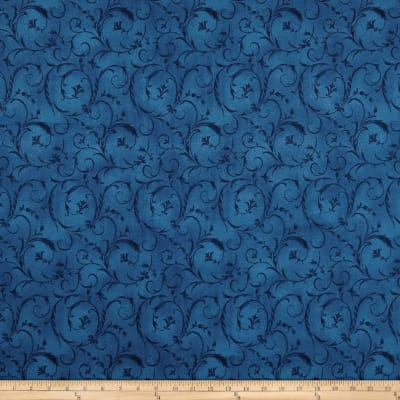 "Maywood Studio 108"" Beautiful Backing Elegant Scroll True Blue"
