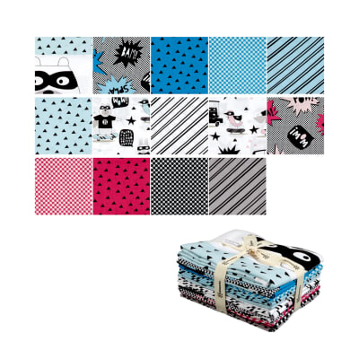 Clothworks Little Super Hero Fat Quarter 14 Pcs Multi