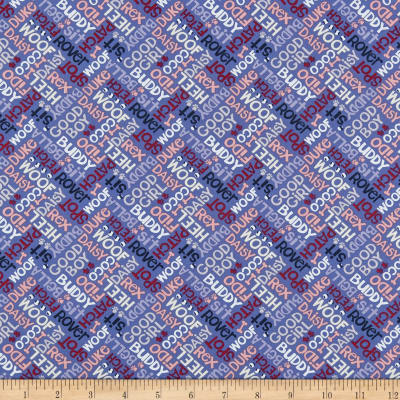 Clothworks Playful Pups Collage Periwinkle