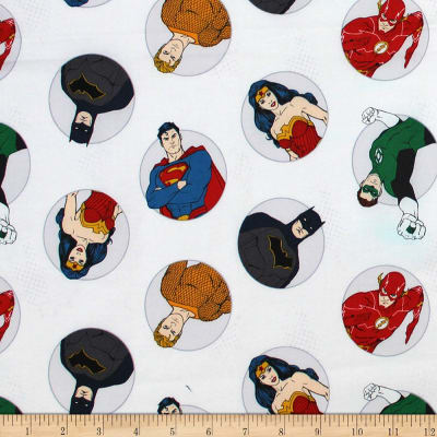 DC Justice League Activated Justice Badges White Fabric