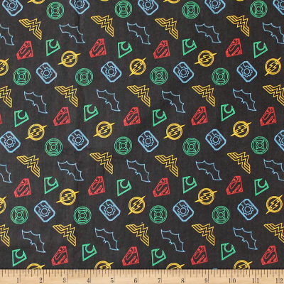 DC Justice League Activated Logo Outline Black Fabric
