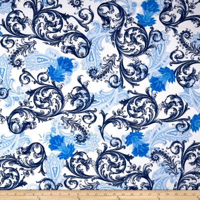 Swimwear Nylon Spandex Floral Navy/White