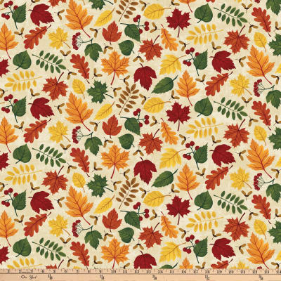 Autumn Woods Large Leaves Beige