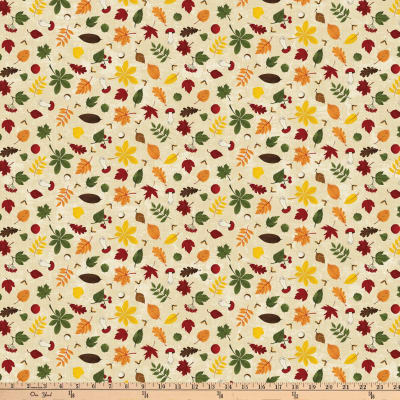 Autumn Woods Small Leaves Beige