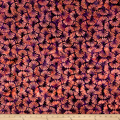 Banyan Batiks Shattered Garden Clam Shell Fan Pink/Orange
