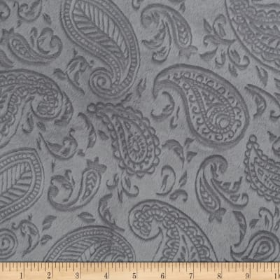 Shannon Minky Cuddle Embossed Paisley Vine  Silver
