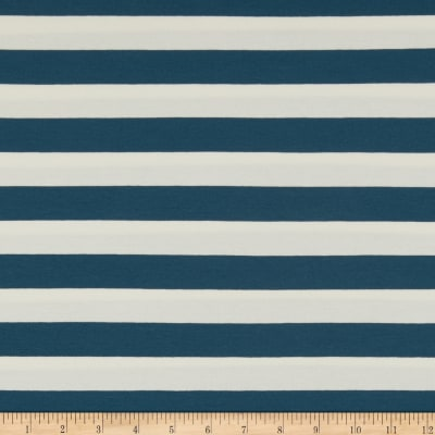 Art Gallery Striped Bold Mediterraneo Jersey Knit Blue & White
