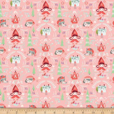Little Red In The Woods Damask Pink