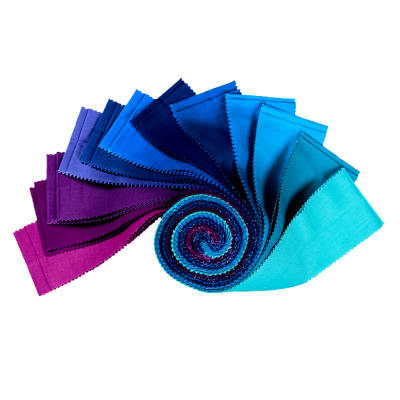 "Kaufman Kona Cotton 2.5"" Half Rolls 24 Pcs Peacock"