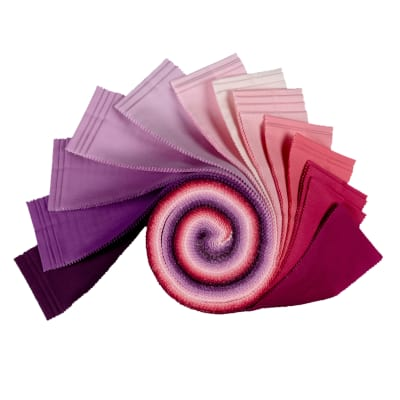 "Kaufman Kona Cotton 2.5"" Roll Ups 40 Pcs Wildberry"