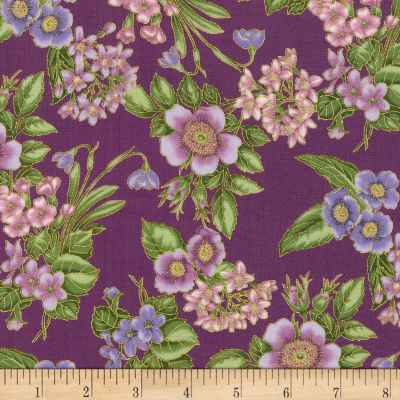 Robert Kaufman Avery Hill Metallic Blooms Lavender