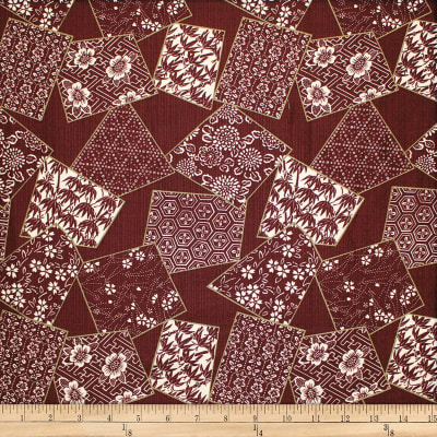 Trans-Pacific Textiles Asian Tonal Block Patch Burgundy