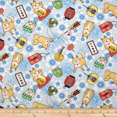 Trans-Pacific Textiles Asian Hachiko Year of the Dog Blue
