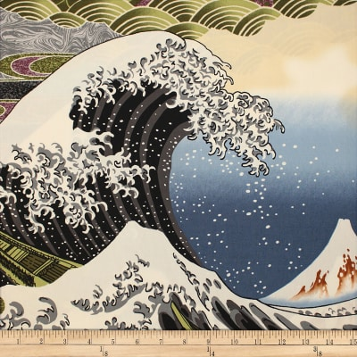 Trans-Pacific Textiles Asian Hokusai Wave Black