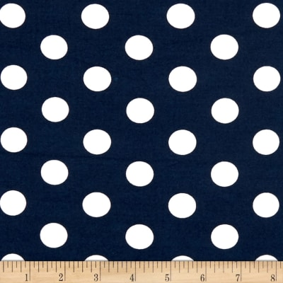 Double Brushed Poly Jersey Knit Medium Polka Dot White/Navy