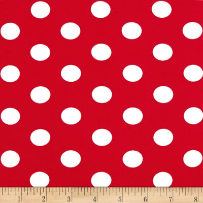 Double Brushed Poly Jersey Knit Medium Polka Dot Ivory/Red