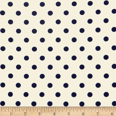 Double Brushed Poly Jersey Knit Small Polka Dot Navy/Ivory