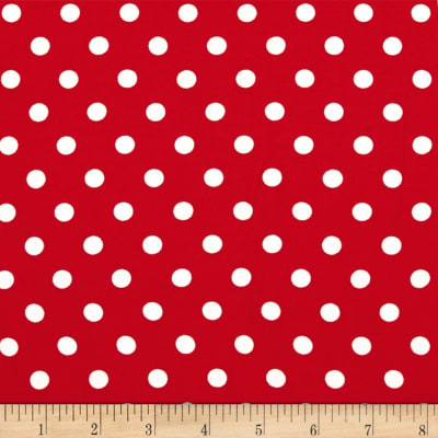 Double Brushed Poly Jersey Knit Small Polka Dot Ivory/Red