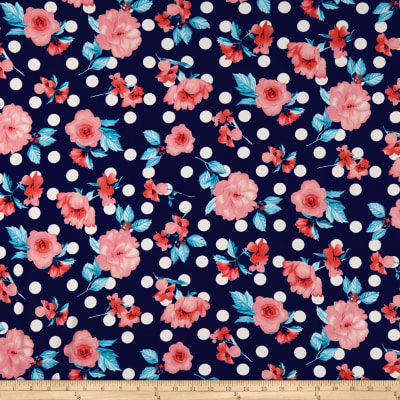 Double Brushed Poly Jersey Knit Floral and Dots Coral/Navy