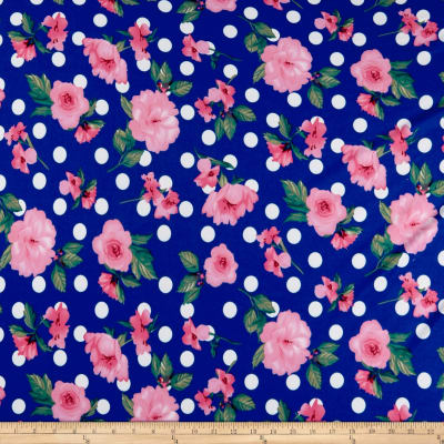 Double Brushed Poly Jersey Knit Floral and Dots Coral/Royal