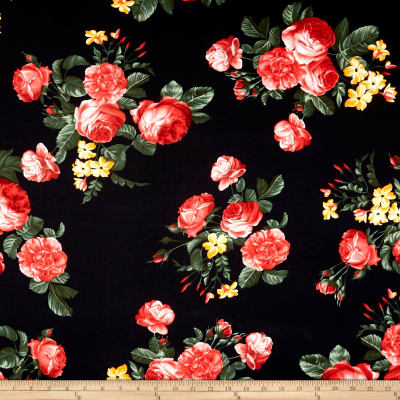 Double Brushed Poly Jersey Knit English Roses Red/Black