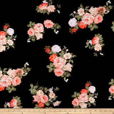 Double Brushed Poly Jersey Knit Floral Coral/Black