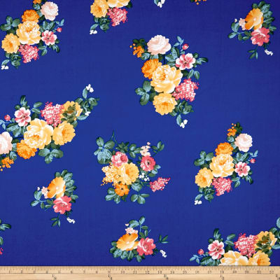 Double Brushed Poly Jersey Knit Floral Gold/Royal