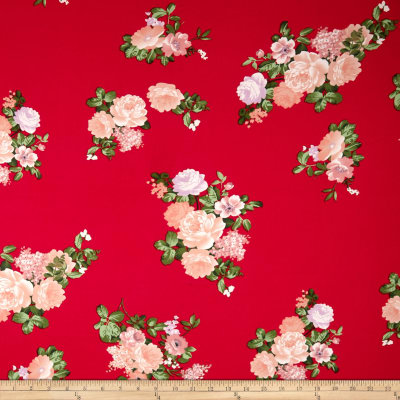 Double Brushed Poly Jersey Knit Floral Blush/Red