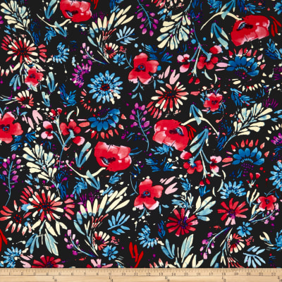 Double Brushed Poly Jersey Knit Abstract Floral Cobalt/Coral