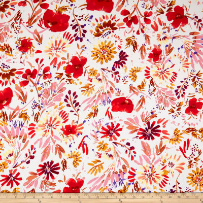 Double Brushed Poly Jersey Knit Abstract Floral Red/Blush