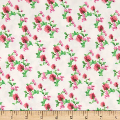 Double Brushed Poly Jersey Knit Mini Floral Pink/Ivory