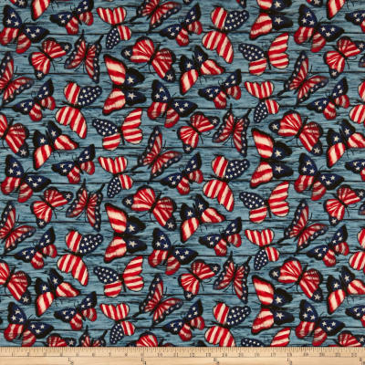 Susan Winget Patriotic Butterflies Digital Woven Blue