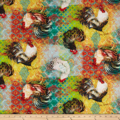 Susan Winget Bohemian Rooster Rooster Click Digital Woven Multi