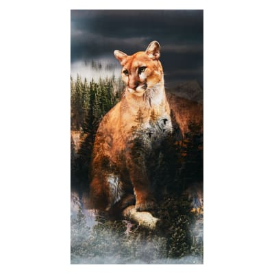 "Hoffman Call Of The Wild 24"" Mountian Lion Panel Digital Pine"