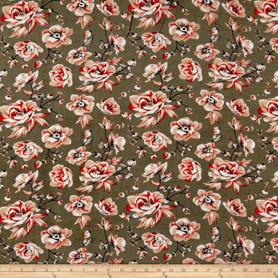 Rayon Challis English Floral Coral/Gray